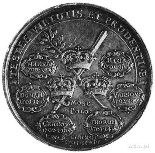 medal nie sygnowany bity w 1703 roku na pamiątkę zwycię...