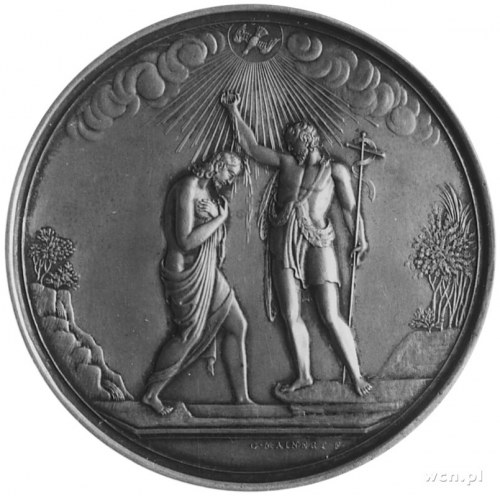 medal chrzcielny sygnowany G. MAINERT, Aw: Scena chrztu...