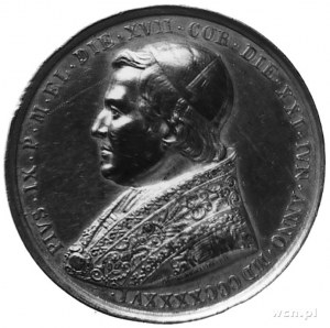 medal z roku 1846- Pius IX (1846-1878), Aw: Popiersie p...
