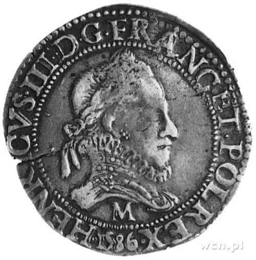 Henryk III 1575-1589, frank 1586. Tuluza, Aw: Popiersie...