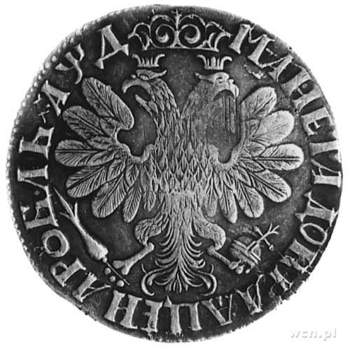 Piotr I 1689-1725, rubel 1704, Aw: Popiersie, w otoku n...