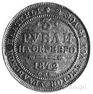 3 ruble platynowe 1842, Petersburg, Fr.143, Uzdenikow 3...