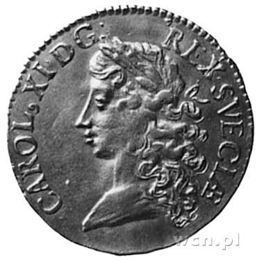 dukat 1674, Sztokholm, Aw: Popiersie Karola XI i napis,...