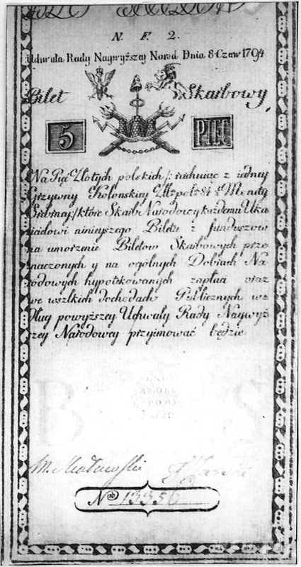 5 złotych 8.06.1794, seria N.F.2, Pick A1, bardzo rzadk...