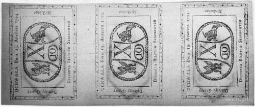 3 x 10 groszy 13.08.1794, Pick A9, trzy banknoty nie ro...