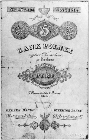 5 złotych 1.05.1830, podpisy: Lubowidzki i Niepokoyczyc...