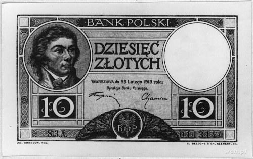 10 złotych 28.02.1919, S.3.A. 011314, klauzula w 9 lini...