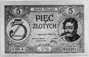 5 złotych 15.07.1924, Pick 61, Parchimowicz 27c.II