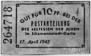 bon pocztowy wartości 10 fenigów, 17.04.1942, Kow.Ł8, P...