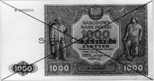 1000 złotych 1945, Ser.N 8900000 i N 1234567, po obu st...