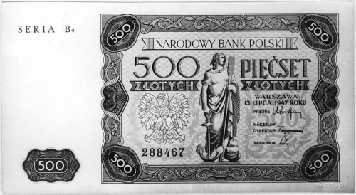 500 złotych 15.07.1947, Seria B4 288467, Pick 132, Parc...