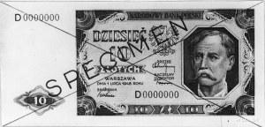 10 złotych 1.07.1948, Ser.D 0000000, na awersie ukośny ...