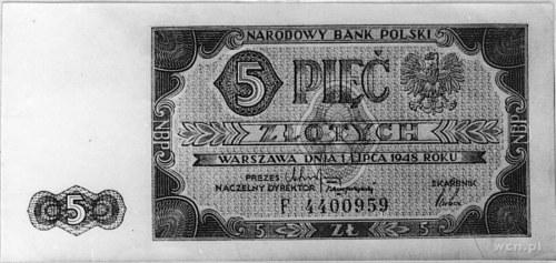 5 złotych 1.07.1948, Ser.F 4400959, Pick 135, Parchimow...