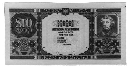 100 złotych 1.08.1957, banknot z wizerunkiem Mickiewicz...