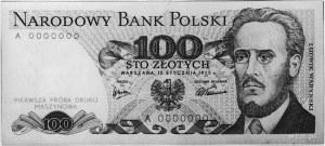 100 złotych 15.01.1975 A0000000 po jednej stronie nadru...