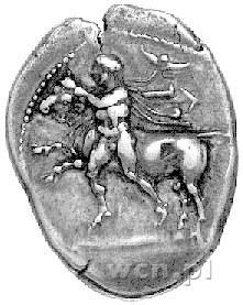Tessalia- Larissa, drachma 450-400 pne, Aw: Nagi młodzi...