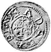denar, Aw: Książe z włócznią i biskup z księgą, Rw: Krz...