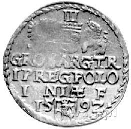 trojak 1592, Olkusz, Kurp. 630 R1, Wal. LVIII 6, data u...