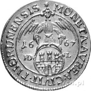 dwudukat 1667, Toruń, H-Cz 2326 R5, Fr. 59, T. 60, złot...