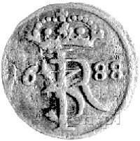 szeląg 1688, Gdańsk, Kurp. 1261 R2, Gum. 2040, bardzo r...