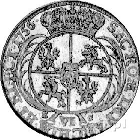 szóstak 1756, Lipsk, Kam. 783 R1, Merseb. 1785, ładnie ...