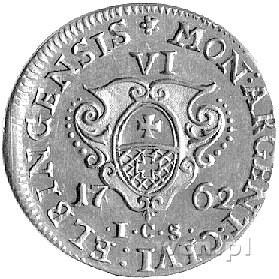 szóstak 1762, Elbląg, Aw: popiersie Augusta III i napis...