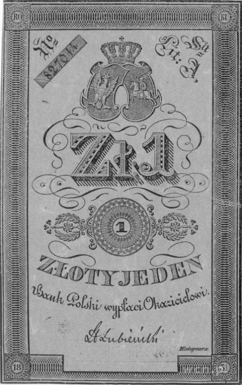 1 złoty, podpis: Łubieński, Pick A22, pięknie zachowany