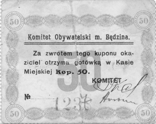 Będzin- 10 kopiejek ważne do 1.01.1915 emitowane przez ...