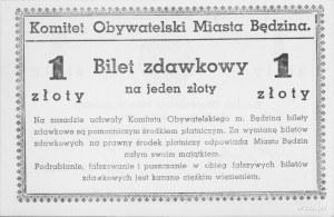 Będzin- 1 złoty 8.09.1939, emitowane przez Komitet Obyw...
