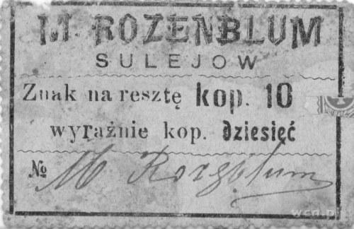 Sulejów- znak na resztę kopiejek dziesięć- podpis i num...