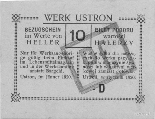 Ustroń- bilet poboru wartości 10 halerzy (styczeń 1920)...