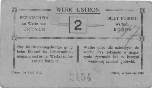 Ustroń- bilet poboru wartości 2 i 5 koron (kwiecień 192...