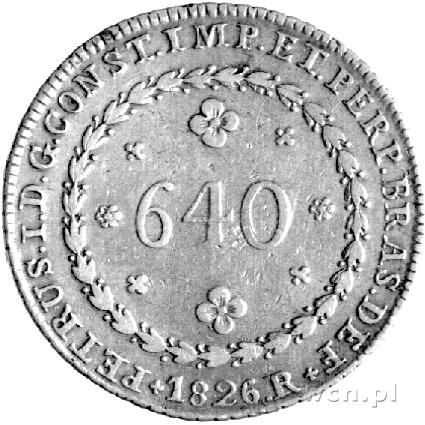 640 reisów 1826, Aw: Nominał, Rw: Herb, K.M. 367 (VF 40...