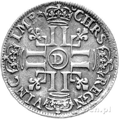 1/2 ecu 1691, Lyon, Aw: Popiersie, Rw: Poczwórny monogr...