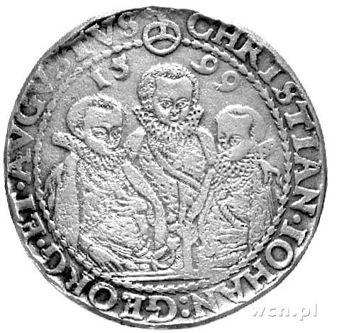 talar 1599, Aw: Półpostacie trzech braci, Rw: Wielopolo...