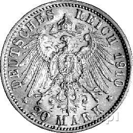 20 marek 1910, Hamburg, J. 252, złoto, 7,96 g., rzadkie