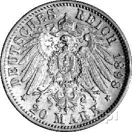 20 marek 1898, Stuttgart, J. 296, złoto, 7,94 g.
