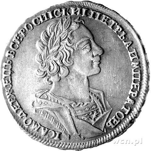 rubel 1724, Moskwa, Aw: Popiersie bez znaku medaliera, ...