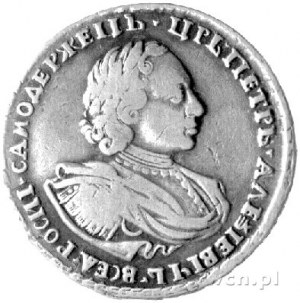 połtina 1721, Moskwa, Aw: Popiersie, Rw: Orzeł dwugłowy...