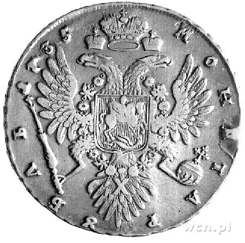 rubel 1735, Aw: Popiersie, Rw: Orzeł dwugłowy, Uzdeniko...
