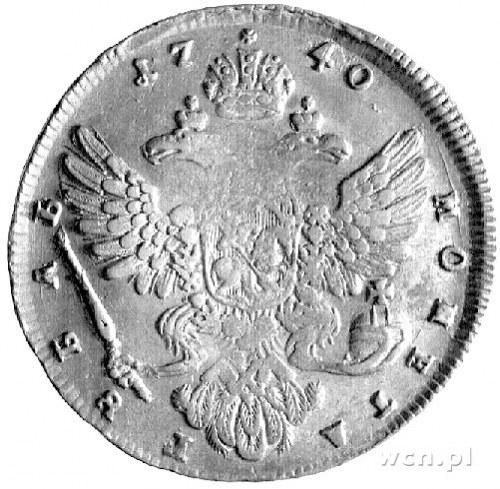 rubel 1740, Aw: Popiersie, Rw: Orzeł dwugłowy, Uzdeniko...