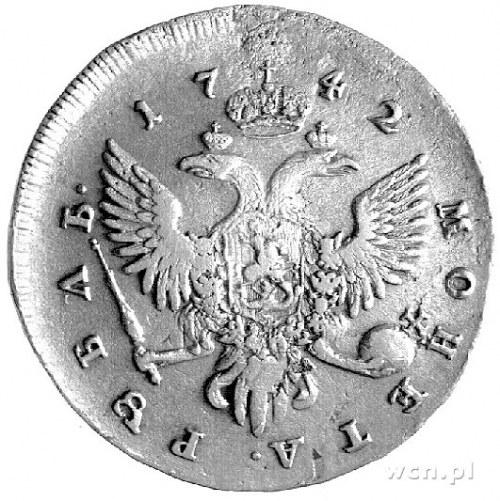 rubel 1742, Petersburg, Aw: Popiersie, Rw: Orzeł dwugło...