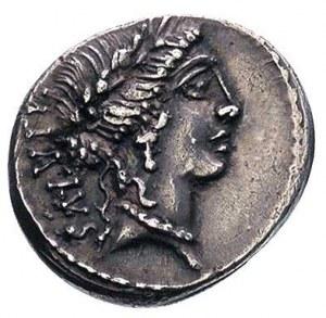 Man. Acilius Glabrio 49 pne, denar, Aw: Głowa Salus w w...