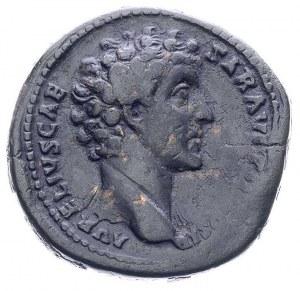 Marek Aureliusz 161-180, sesterc, Aw: Popiersie w prawo...
