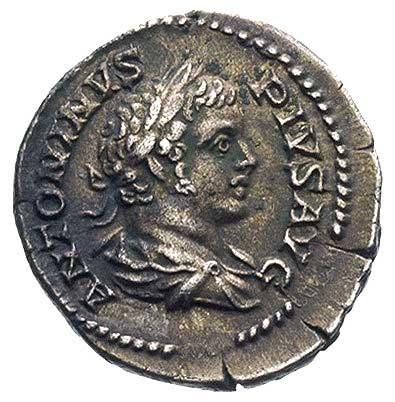 Karakalla 198-217, denar, Aw: Popiersie w prawo i napis...