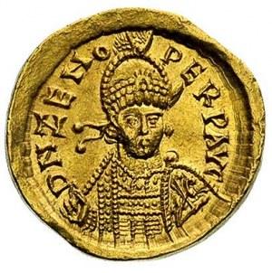 Zenon 476-491, solidus 480-491, Aw: Popiersie w hełmie ...