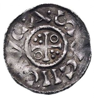 Henryk II król 1009-24, denar, Aw: Popiersie i napis, R...