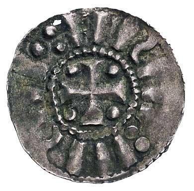 denar 1020-25 r, Aw: Krzyż i imitacja napisu, Rw: Figur...