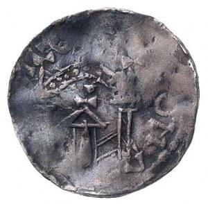 Henryk II 1002-1024, denar, Aw: Popiersie i napis, Rw: ...