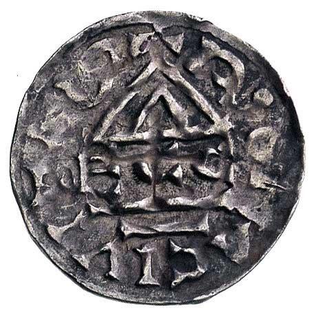 książę Henryk II 985-995, denar, Aw: Krzyż i napis, Rw:...